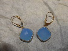 14K Leverback Hanging 10CTW Cushion Cut faceted Blue Amazonite pierced EARRINGS