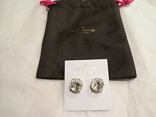 Kate Spade Gumdrop Studs Earrings Large Clear 14Kt Gold Filled Authentic NEW NWT