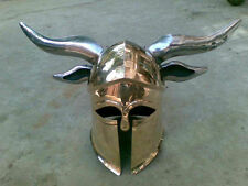 Brass Medieval Viking Barbarian CORINTHIAN Helmet with steel-horns for cosplays+