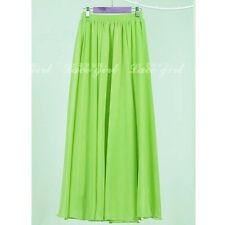 Women Adult Teen SUMMER Double Layer Chiffon Long Maxi Elastic Waist Skirt