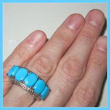 Sleeping Beauty Turquoise  7.52 ct /Diamond 5stone Ring Platinum / S Silver sz 8