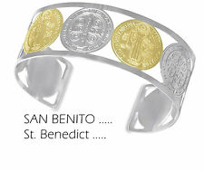 Saint benedict / San Benito - Two tone stainless steel cuff bangle bracelet