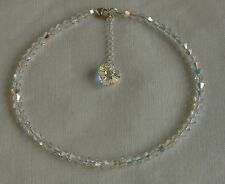 "Bridal 9"" ANKLET STERLING SILVER 925 Clear AB SWAROVSKI Elements CRYSTAL"