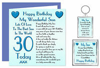 30th Son Happy Birthday Gift Set - Card, Keyring & Magnet 30 Today Lots Of Love