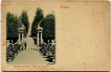 Primi '900 Firenze giardino Boboli viale de' Cipressi colonne FP B/N ANIM