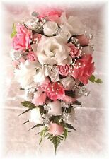 2pc Silk Wedding Bridal Bouquet Flower Set PINK White Silver