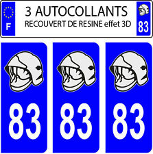 3 sticker plaque immatriculation auto DOMING 3D RESINE CASQUE POMPIER DEPARTE 83