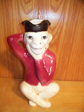 """RARE 11""""  Olfaire Majolica Figural Monkey Pitcher ZERO ISSUES YEAR OF THE MONKEY"""