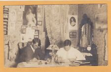 Real Photo Postcard RPPC - Two Men in Dorm Room Studying Photos Quincy IL