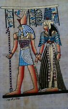 "Egyptian papyrus ""Queen Cleopatra & Hours"" handmade painted 16 x12 Cm"