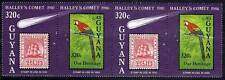 GUYANA 1986 HALLEY'S COMET MNH pair SPACE, BIRDS, PARROTS, STAMP on STAMP mrk