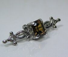 Vintage Celtic Pin Brooch Signed DB Scotland Brown Smoky Quartz Color Crystal