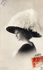 BD935 Carte Photo vintage card RPPC Femme woman mode fashion Hat chapeau