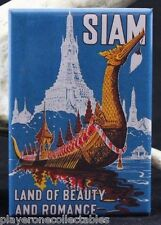 "Siam / Thailand Vintage Travel Poster 2"" X 3"" Fridge / Locker Magnet."