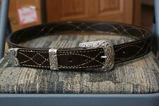 "Handmade Bulls Hide Leather Gun Belt 1 1/2"" Wide, Brown, CCW, Cowboy/Western"