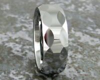 Mens Tungsten Carbide Wedding Band Faceted Ring Sizes 8-12