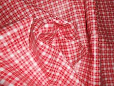 ONE new remnant glazed cotton fabric sm checkered print white red pink 6Y X 54""