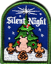 """""""SILENT NIGHT"""" PATCH /Iron On Embroidered Applique/Christmas, Holidays"""