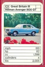1970's/'80's ACE TRUMP GAME Great Britain Sers HILLMAN AVENGER 1600 GT CARD #C3