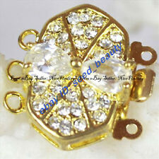 3 Strands Yellow Gold Plated Crystal Clasp Jewelry Making Necklace Findings DIY