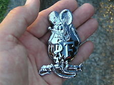 ~ RATFINK METAL EMBLEM Chrome Car Badge suits Harley Davidson Rat Fink Custom B