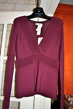 NWT $695 Auth BURBERRY V-Neck  SILK Sweater Size L Dark Pomegranate Gorgeous!