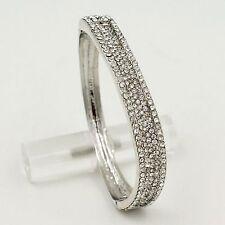 New Rhodium Plated Clear Crystal Rhinestone Wedding Bangle Cuff Bracelet 00575