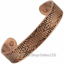 NEW Mens XL Chunky Magnetic Copper Celtic Bracelet Cuff BANGLE 6 Magnets Strong