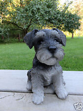 "SCHNAUZER PUPPY SITTING DOG FIGURINE STATUE RESIN PET 6.5"" H ORNAMENT NEW"