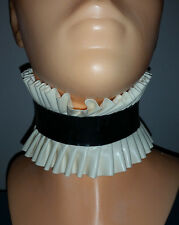 New latex rubber maids frilly neck collar  black and white gummi sissy maid