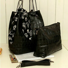 2PCS/Set Women Handbag Shoulder Bag Skull Purse Leather Crossbody Messenger Bag