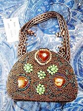 NEW W/TAG TULA  BRONZE BEADED HARD-SHELL PURSE W/WOVEN STRAPS & EDGING