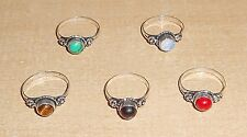 CORAL & MULTI STONE HANDMADE 925 STERLING SILVER OVERLAY RING LOT IN 6-8 US