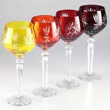 4 Vintage Weingläser Kristall Gläser gelb orange rot weinrot Römer Schliff H3B