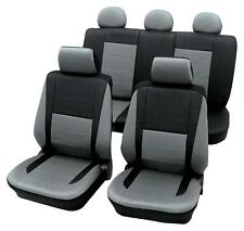 Leather Look Grey & Black Car Seat Covers - For Honda Jazz 2005 Onwards
