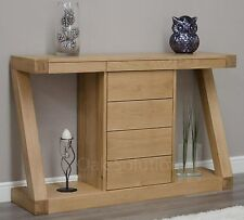 Z solid oak designer furniture hall console hallway table with drawers