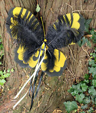 YELLOW GOTHIC FEATHERED FAIRY WINGS - FESTIVAL RIBBON FAE BRIDAL GRUNGE INDIE