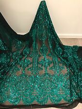 """BLACK STRETCH MESH W/TEAL SEQUIN EMBROIDERY LACE FABRIC 52"""" WIDE 1 YARD"""