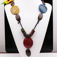 "Handmade Mixed Coconut Shell Oval Beads Carved Dolphin Pendant Necklace 30""L NEW"