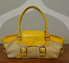 COLE HAAN Yellow Amanda Straw Leather Shoulder Bag