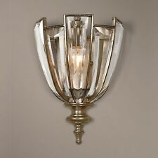 Art Deco Crystal Wall Sconce | Champagne Gold Flower Light