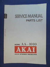 AKAI AA-1010 RECEIVER SERVICE  MANUAL FACTORY ORIGINAL ISSUE GOOD CONDITION
