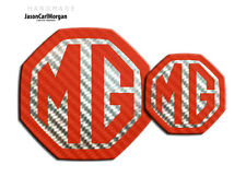 MG ZS MK2 Badge Inserts Front Grill & Boot Badges Set 59/95mm Red Carbon Silver
