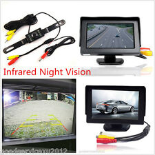 120° Car License Plate Fame Reverse Backup CMOS IR Camera & LCD TFT Monitor Kits
