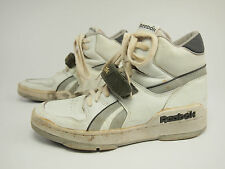 1980s REEBOK Vintage BB White/Gray Leather Hi Basketball Strap Shoes 44 - US 10