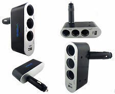 Isewa 3way 5amp Usb Socket en coche cigarrillo encendedor Splitter Adaptador Blk