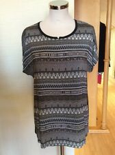 Riani Top Size 16 BNWT Black Taupe Beige Patterned RRP £135 NOW £60