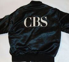 CBS BLACK SATIN JACKET! BIG EMBROIDERED LOGO! SNAP-UP FRONT! FULLY LINED! MED