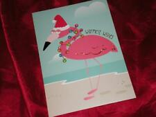 WARMEST WISHES PINK FLAMINGO,  CHRISTMAS LIGHTS, BEACH SIDE GREETING CARDS