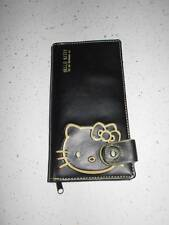 Vtg RARE HELLO KITTY Faux Leather Black Wallet Coin Purse Credit Card VGC JAPAN